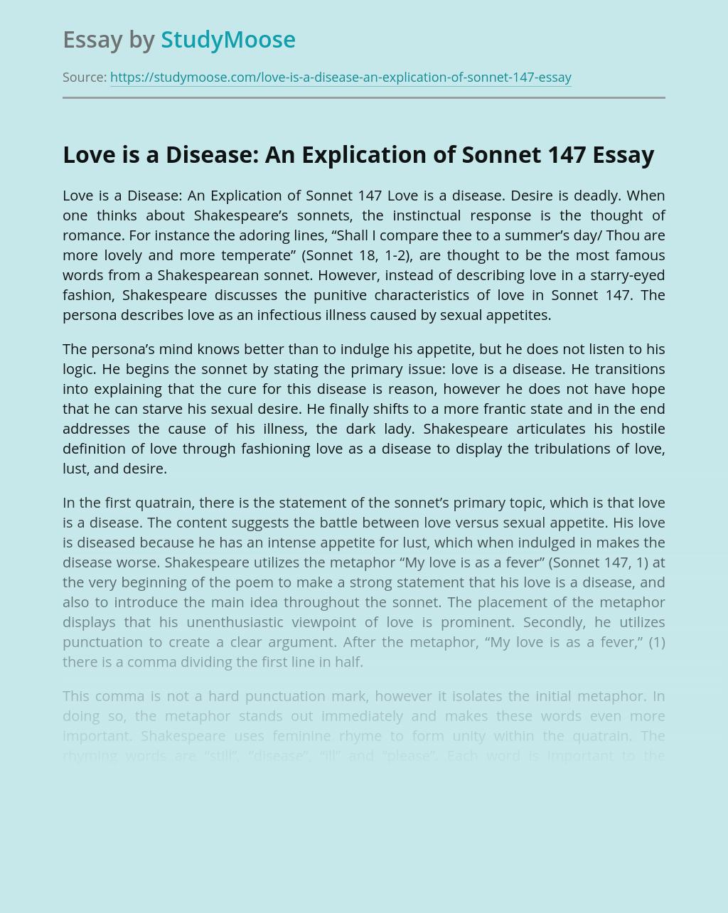 Love is a Disease: An Explication of Sonnet 147