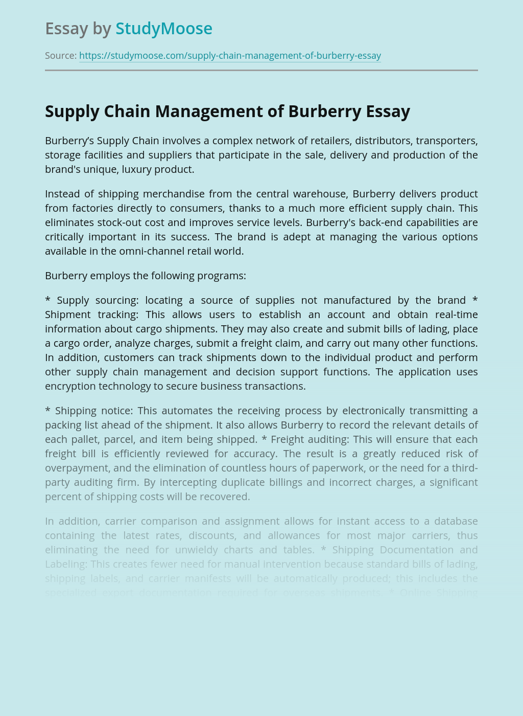 Supply Chain Management of Burberry