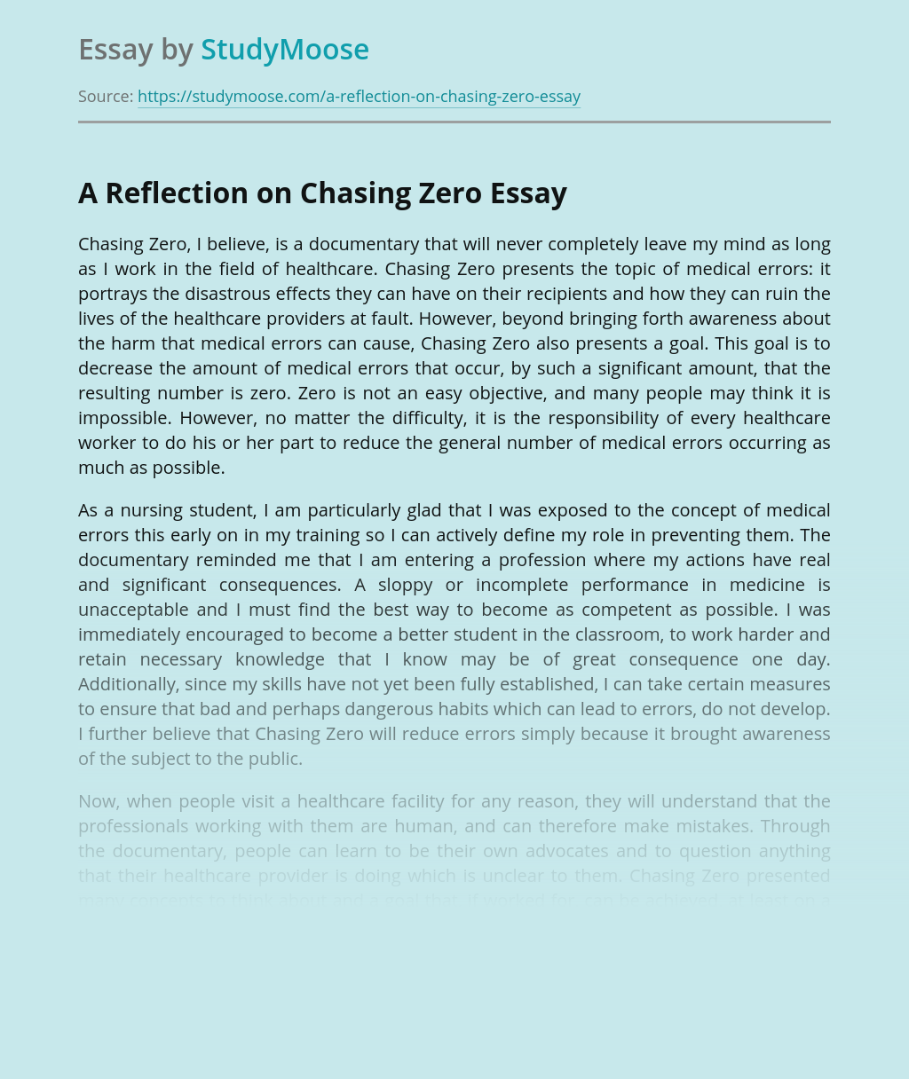 A Reflection on Film Chasing Zero