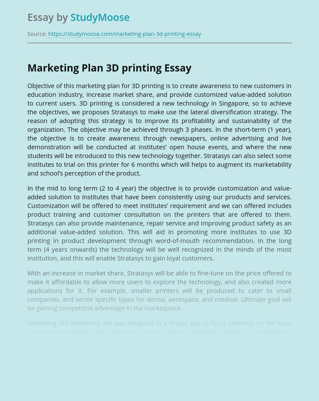 Marketing Plan 3D printing