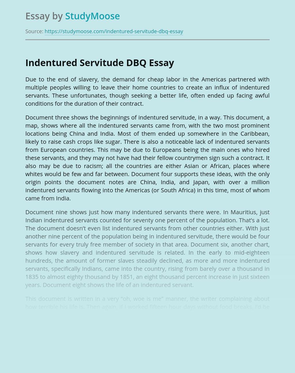 Indentured Servitude in History