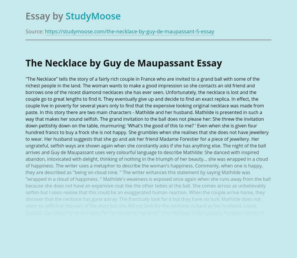 The necklace by guy de maupassant free essays essay writing a journey by bus