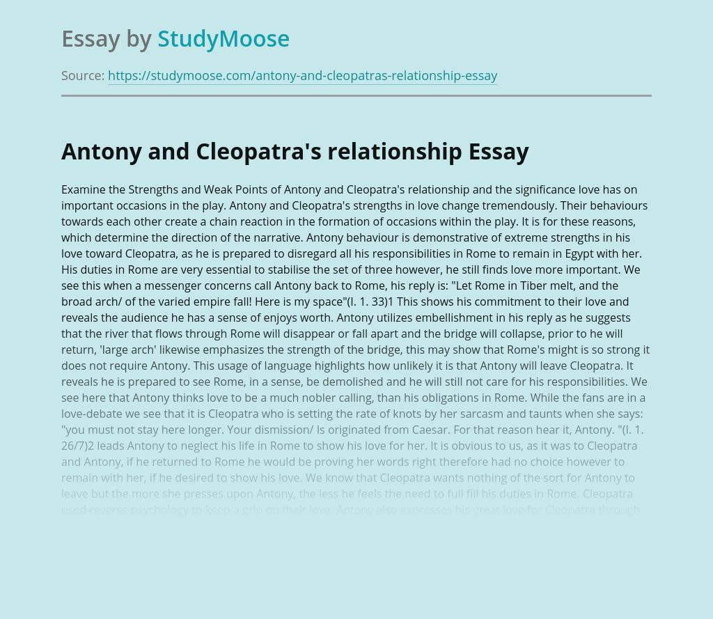 Antony and Cleopatra's relationship