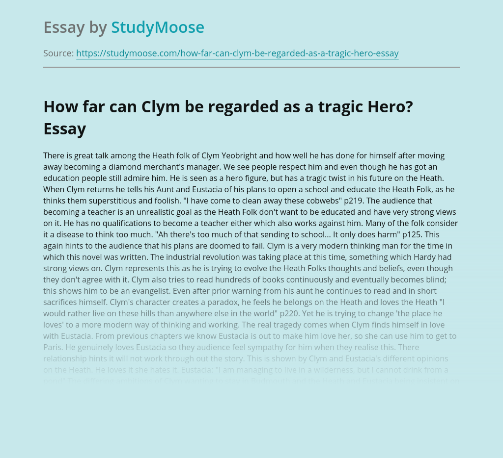 How far can Clym be regarded as a tragic Hero?