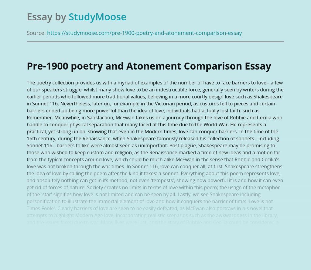 Pre-1900 poetry and Atonement Comparison