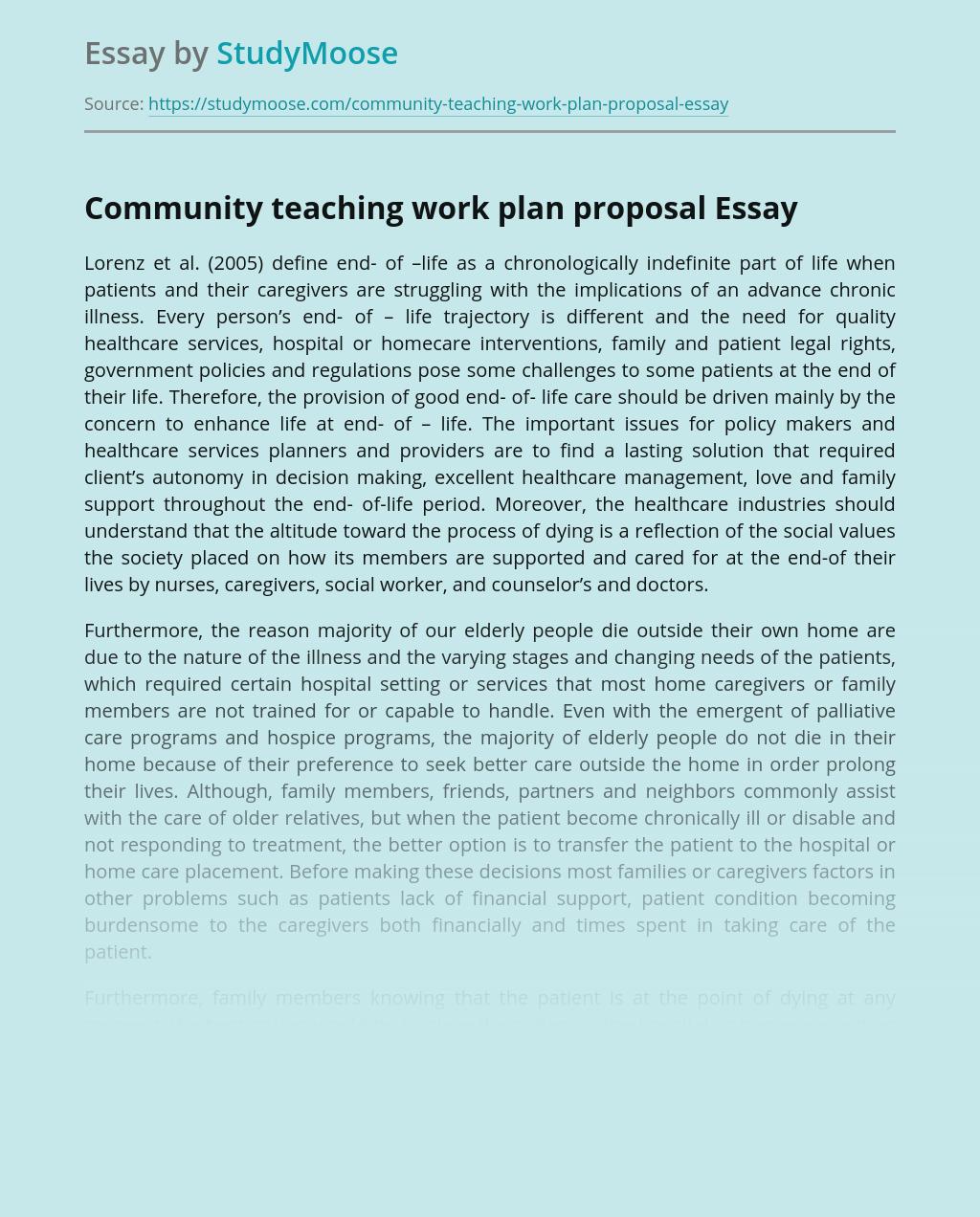 Community teaching work plan proposal