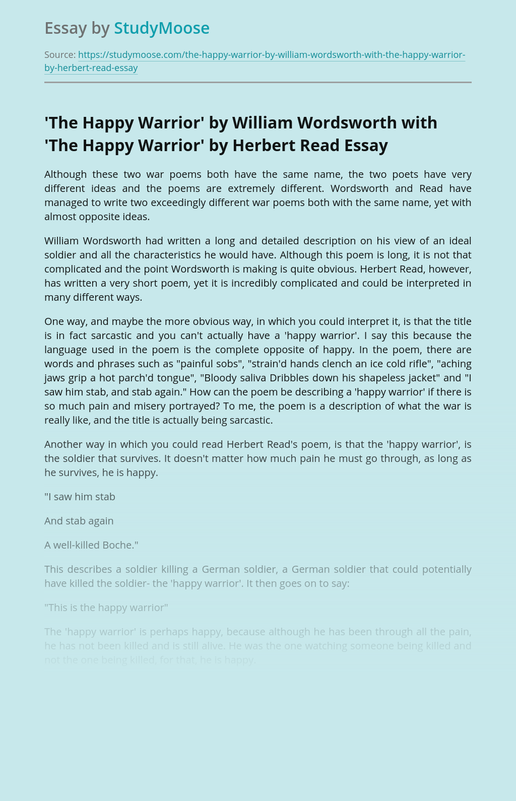 'The Happy Warrior'  by William Wordsworth with 'The Happy Warrior' by Herbert Read