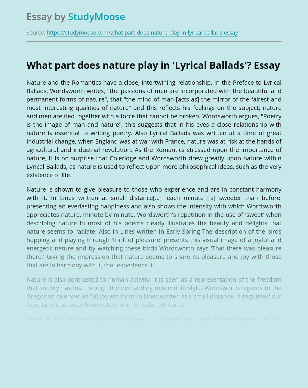 What part does nature play in'Lyrical Ballads'?