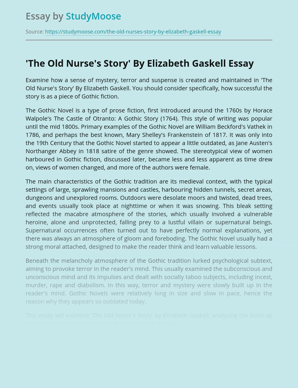 'The Old Nurse's Story' By Elizabeth Gaskell