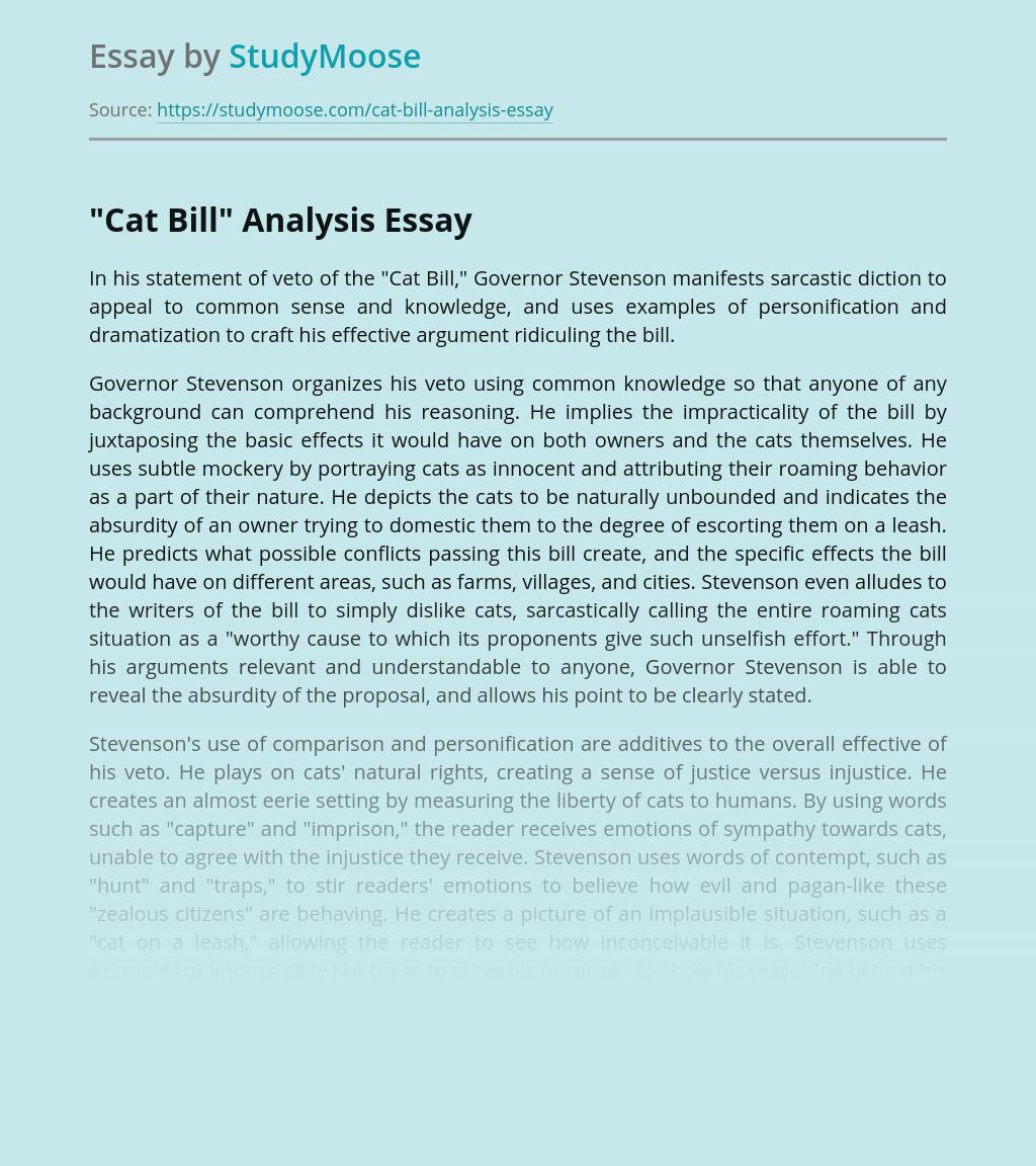"""""""Cat Bill"""" Analysis"""