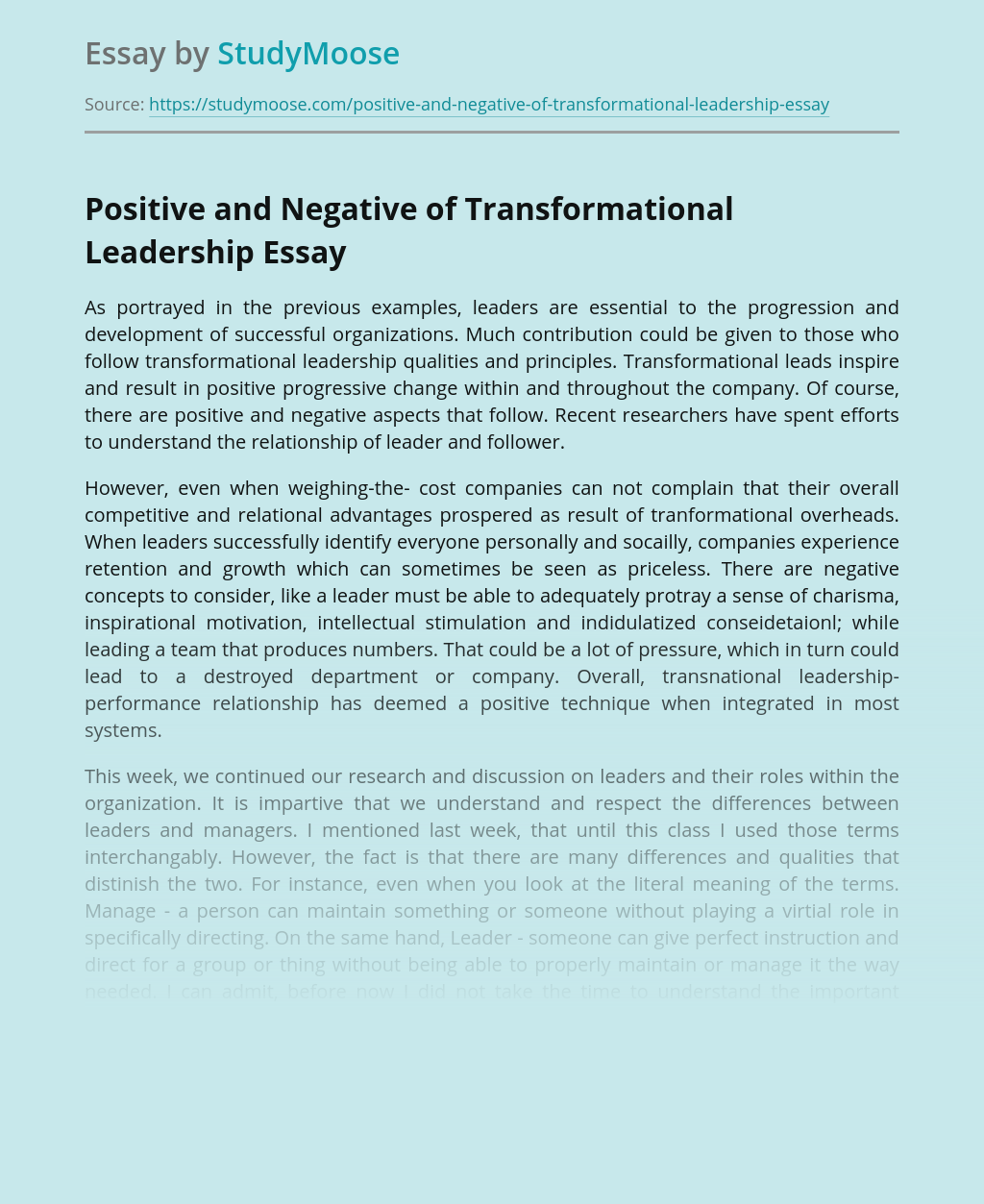 Positive and Negative of Transformational Leadership