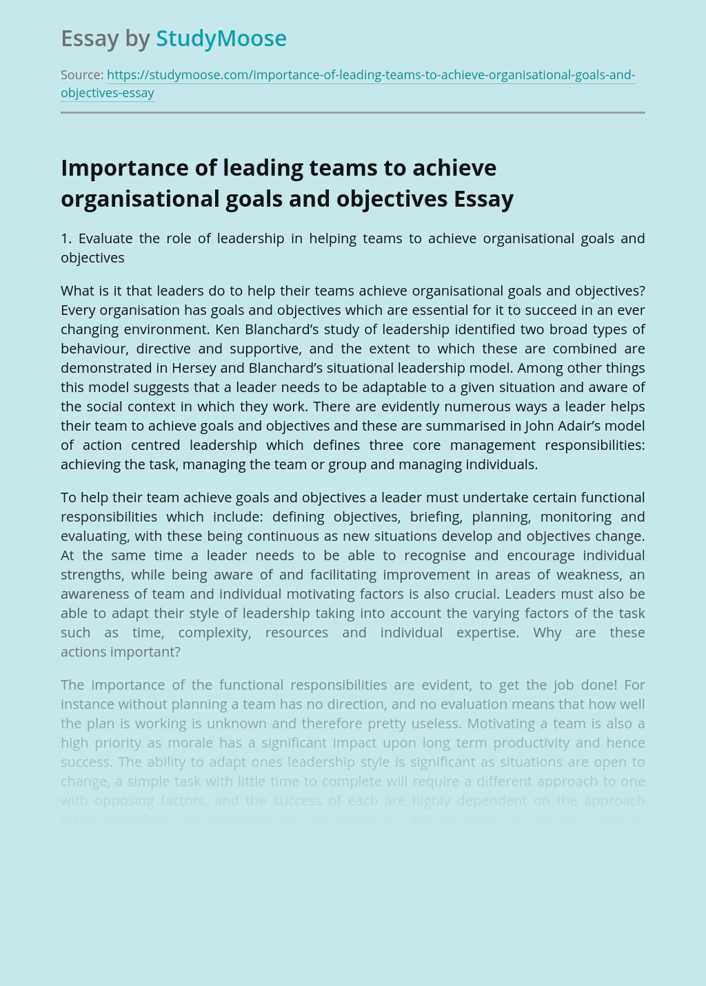 Importance of leading teams to achieve organisational goals and objectives