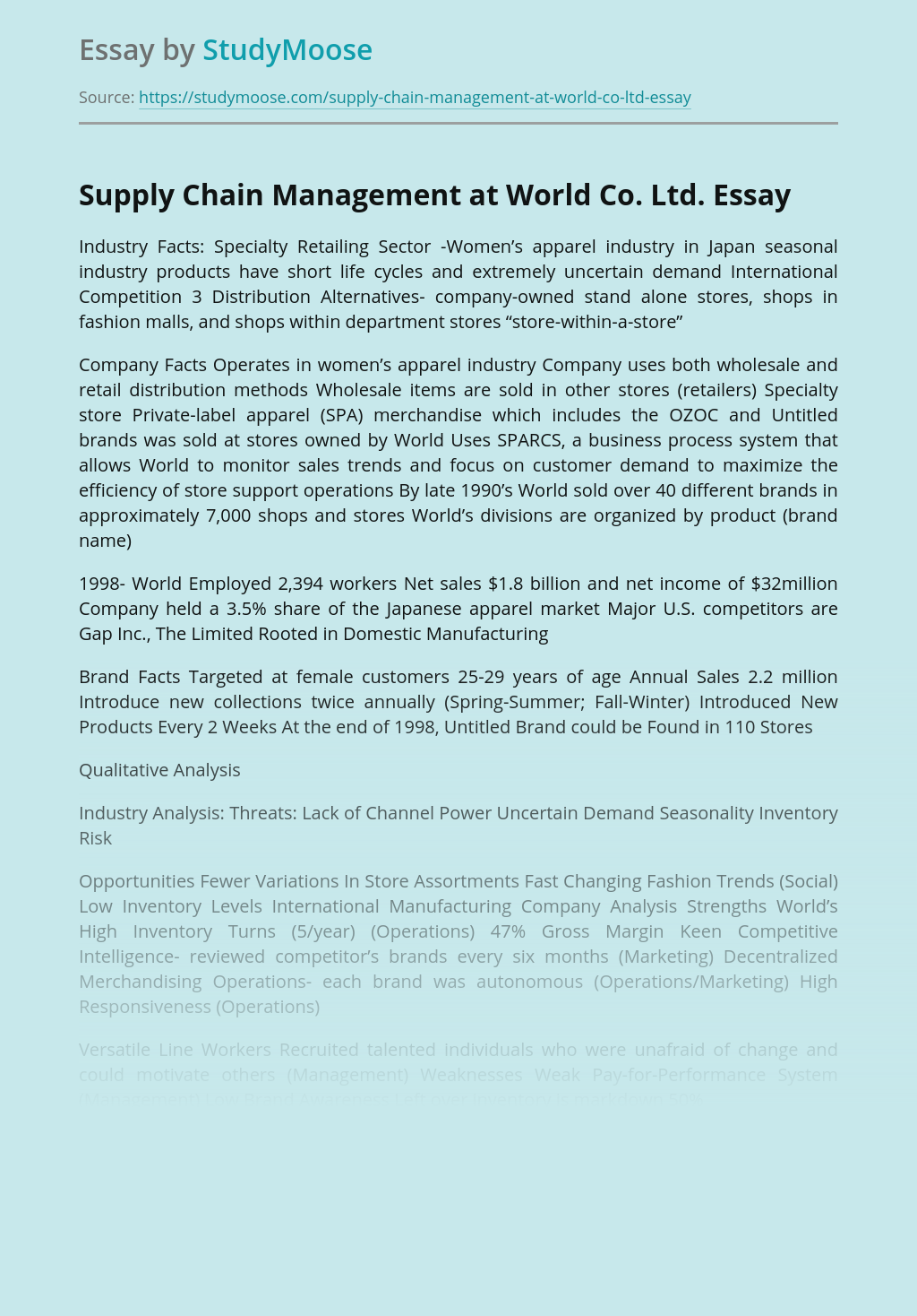 Supply Chain Management at World Co. Ltd.