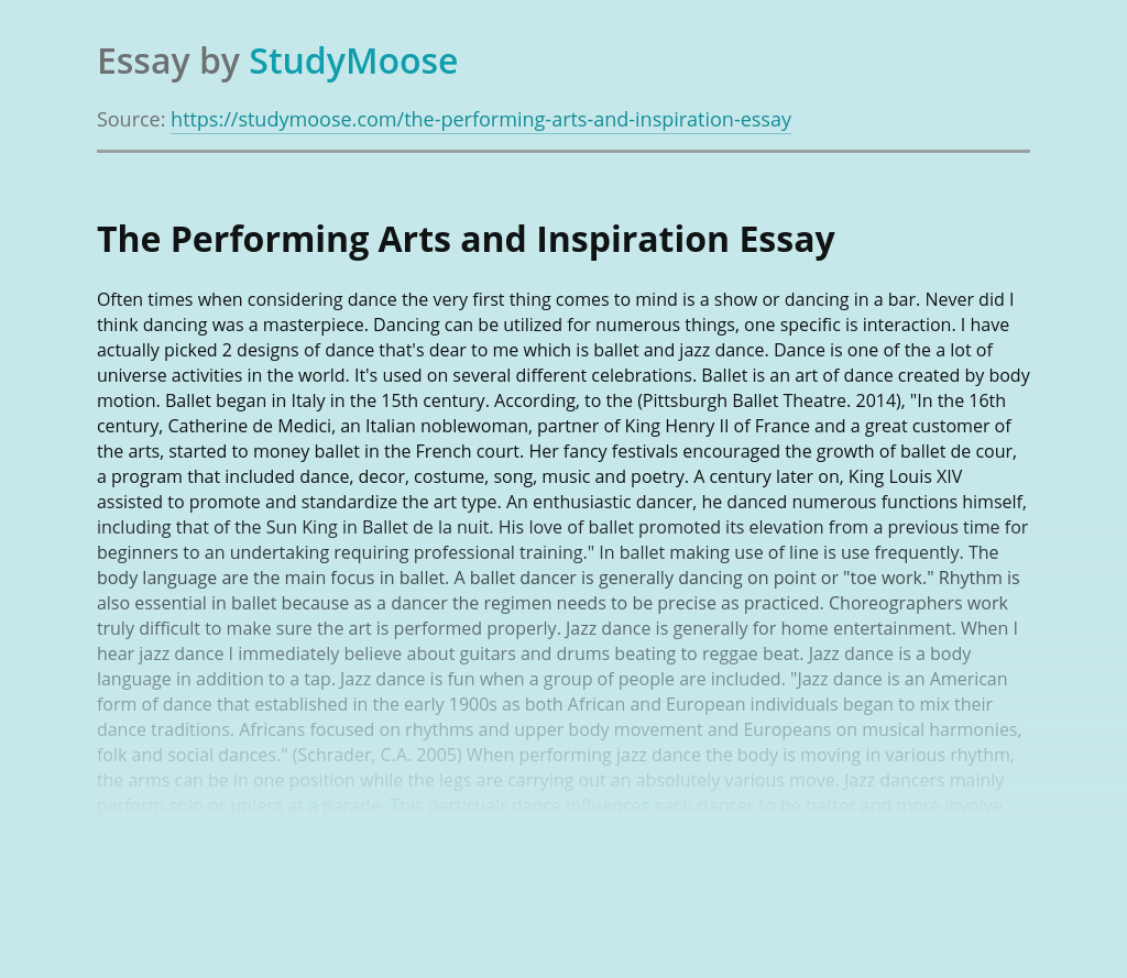 The Performing Arts and Inspiration