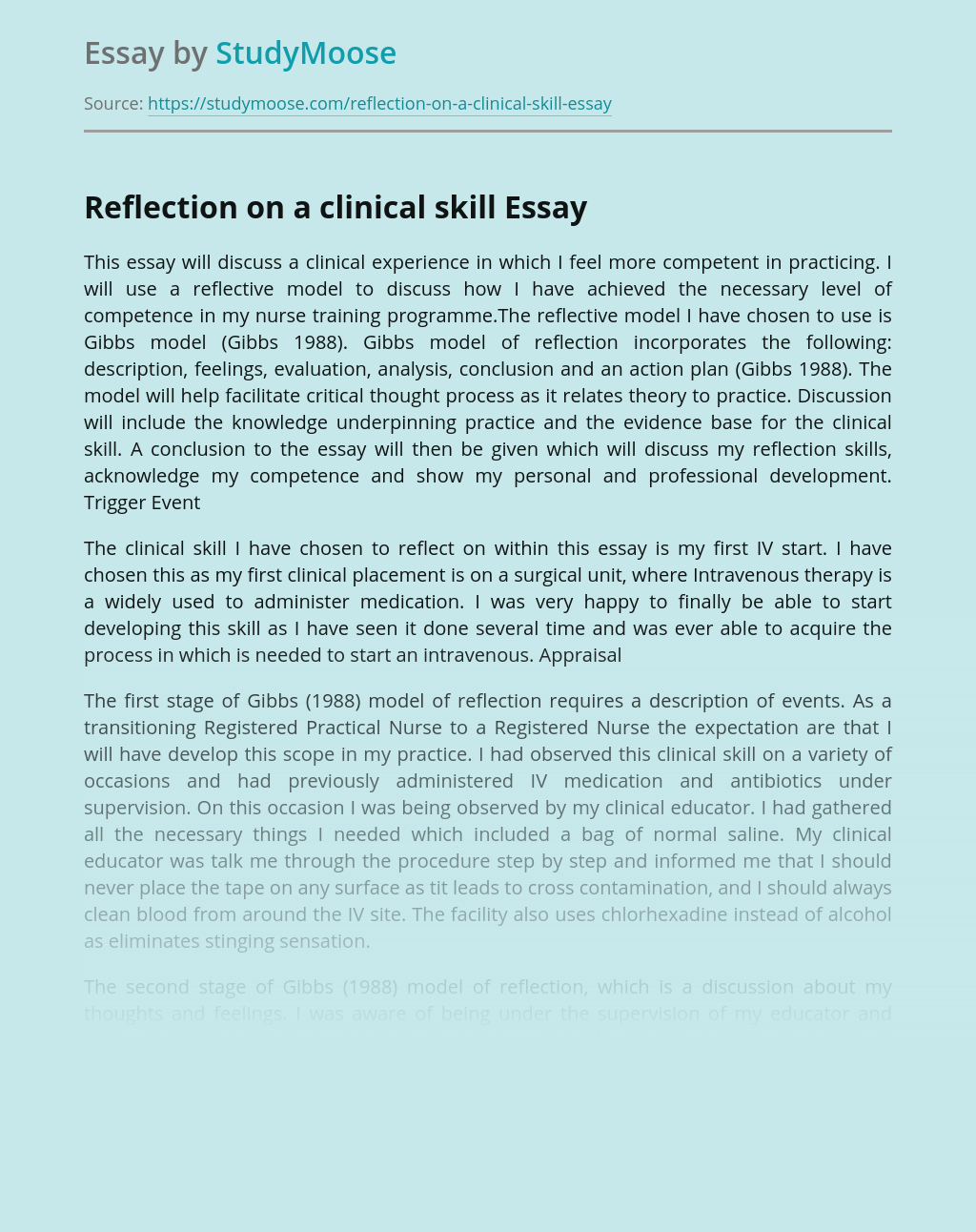 Reflection on a Clinical Skills and Nursing