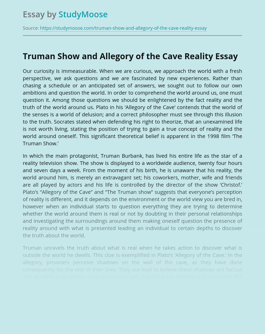 Truman Show and Allegory of the Cave Reality