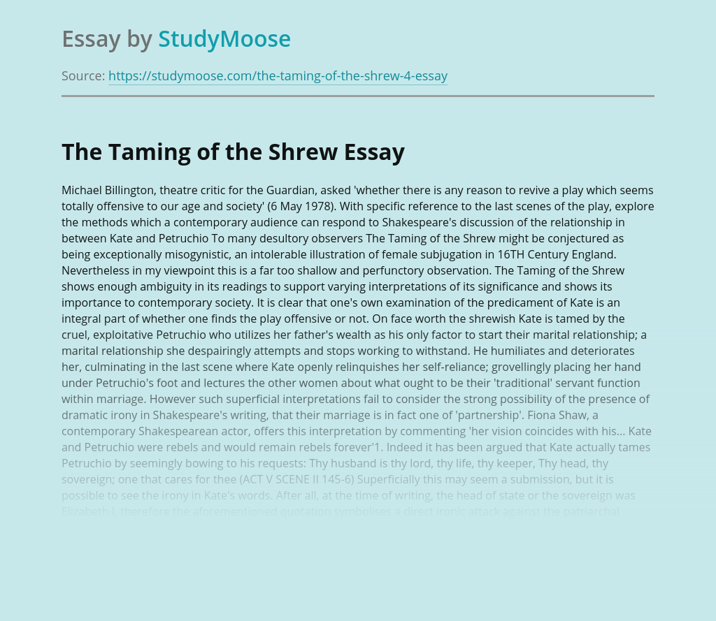 The Taming of the Shrew: Plot Overview