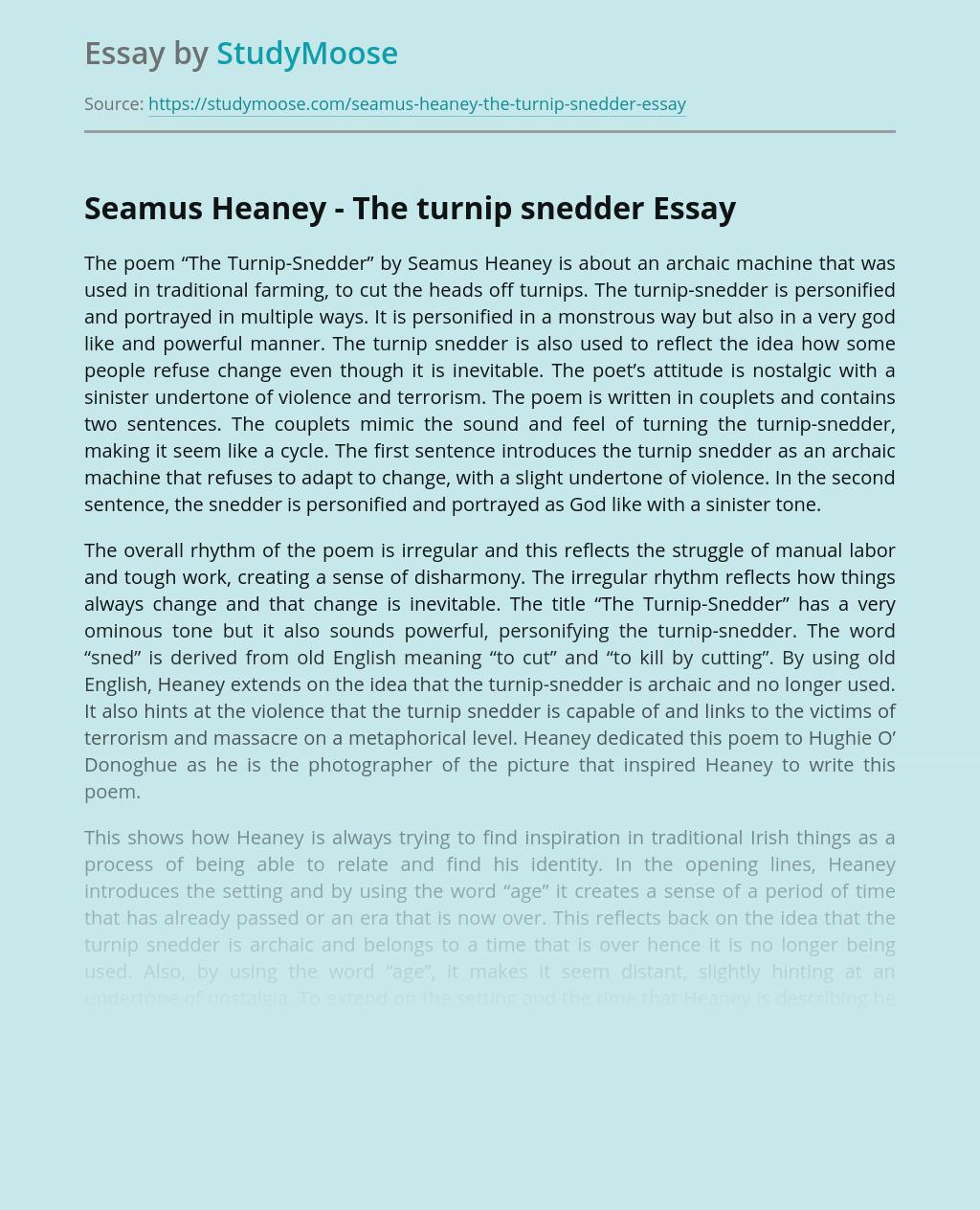Seamus Heaney - The turnip snedder