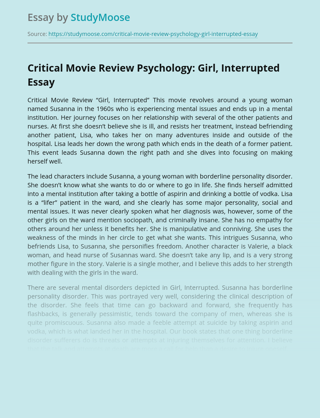 Critical Movie Review Psychology: Girl, Interrupted