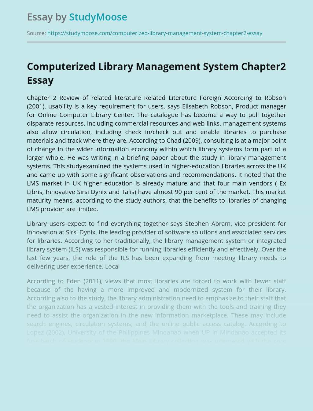 Computerized Library Management System Chapter2
