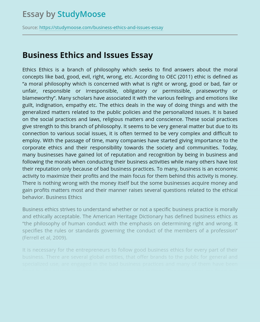 Business Ethics and Issues