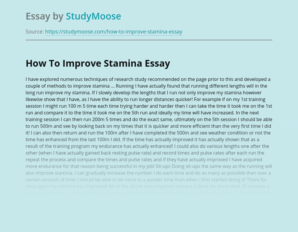 How To Improve Stamina and Physical Fitness