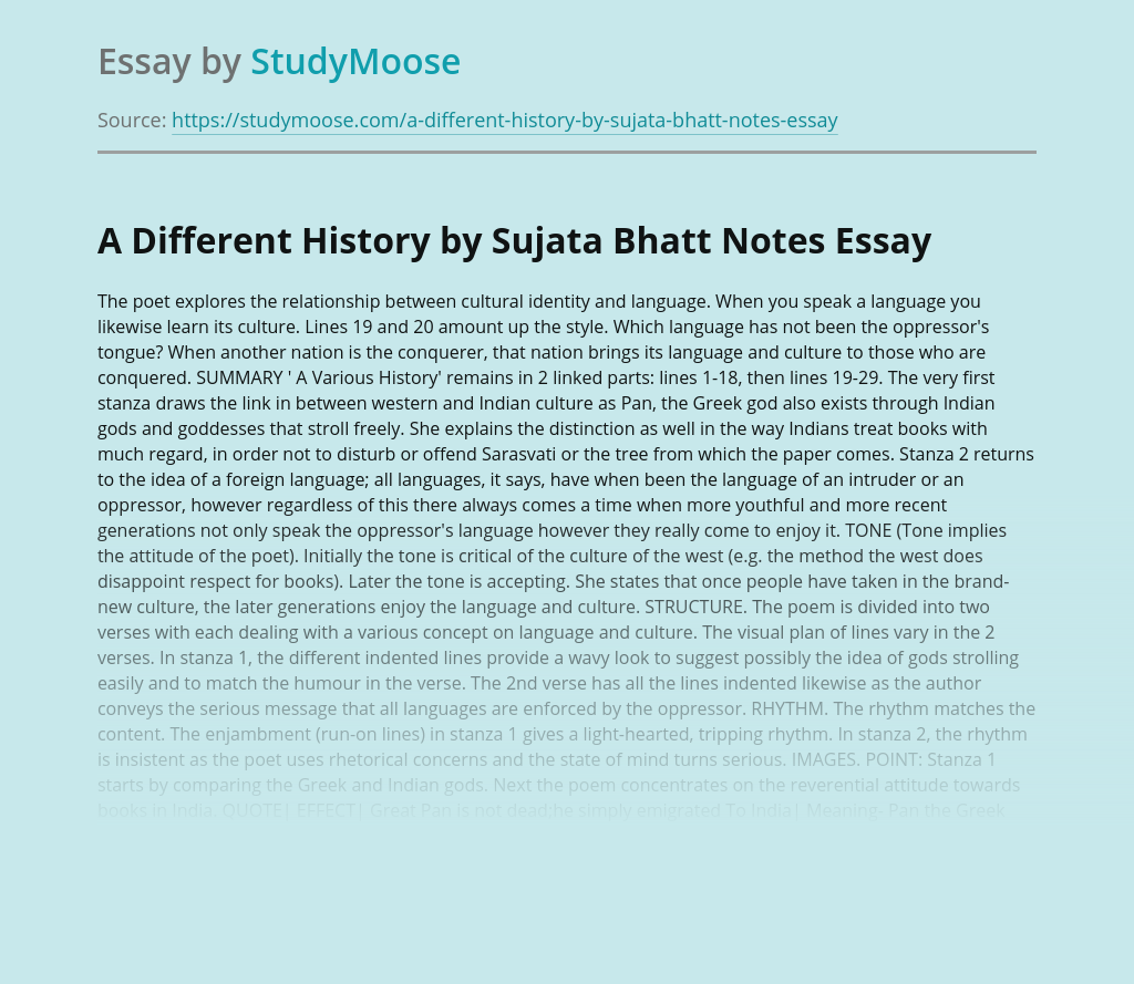 A Different History by Sujata Bhatt Notes