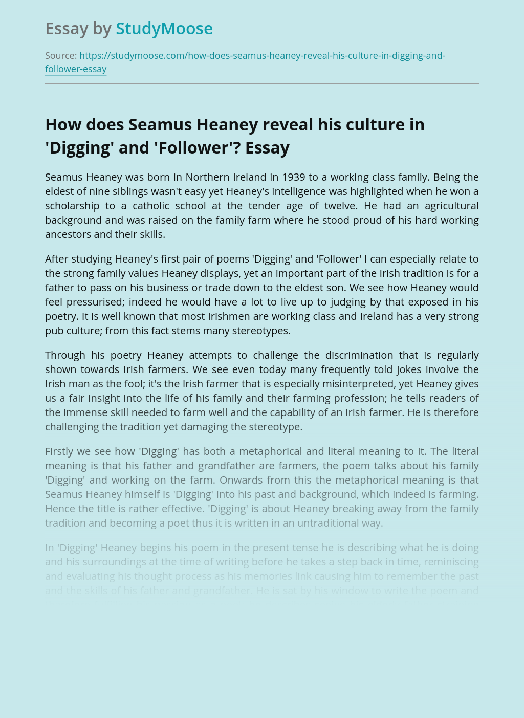 How does Seamus Heaney reveal his culture in 'Digging' and 'Follower'?