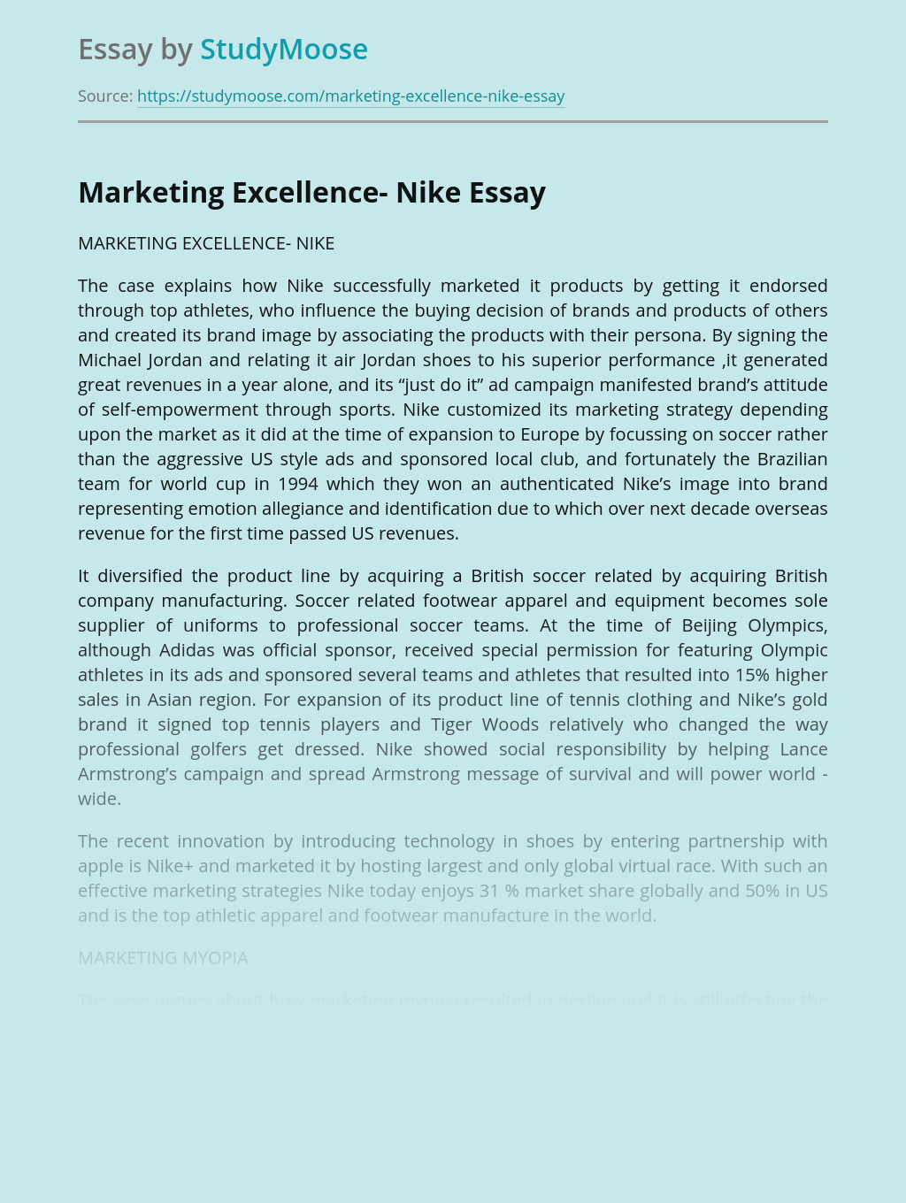 Marketing Excellence- Nike