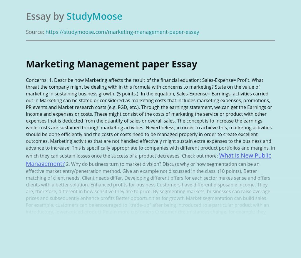 Marketing Management paper