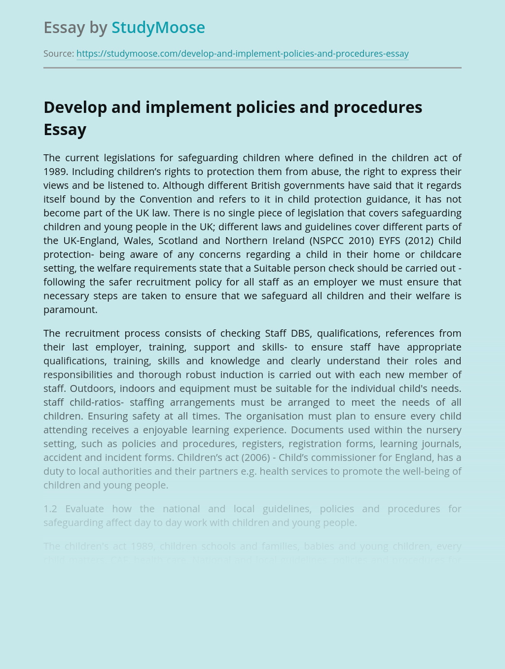 Implementing Policies and Procedures for Safeguarding Children