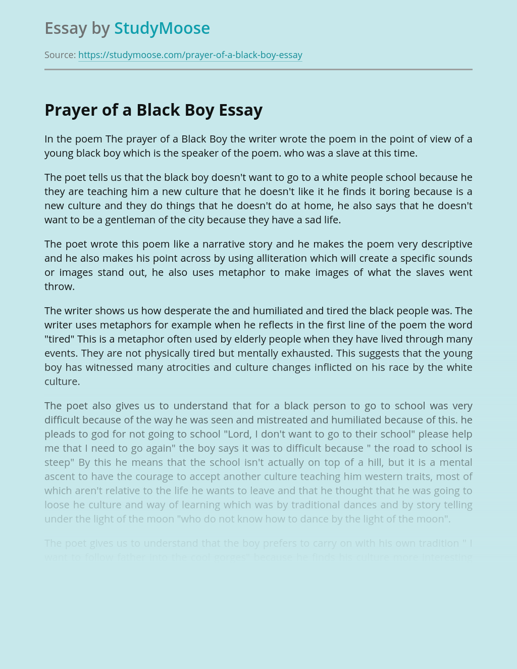 The Prayer of a Black Boy Poem Analysis