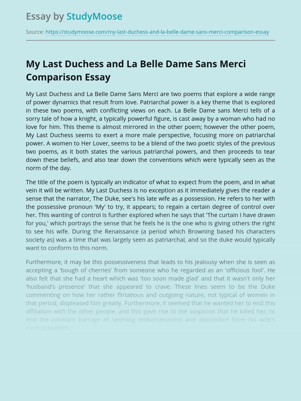 My Last Duchess and La Belle Dame Sans Merci Comparison