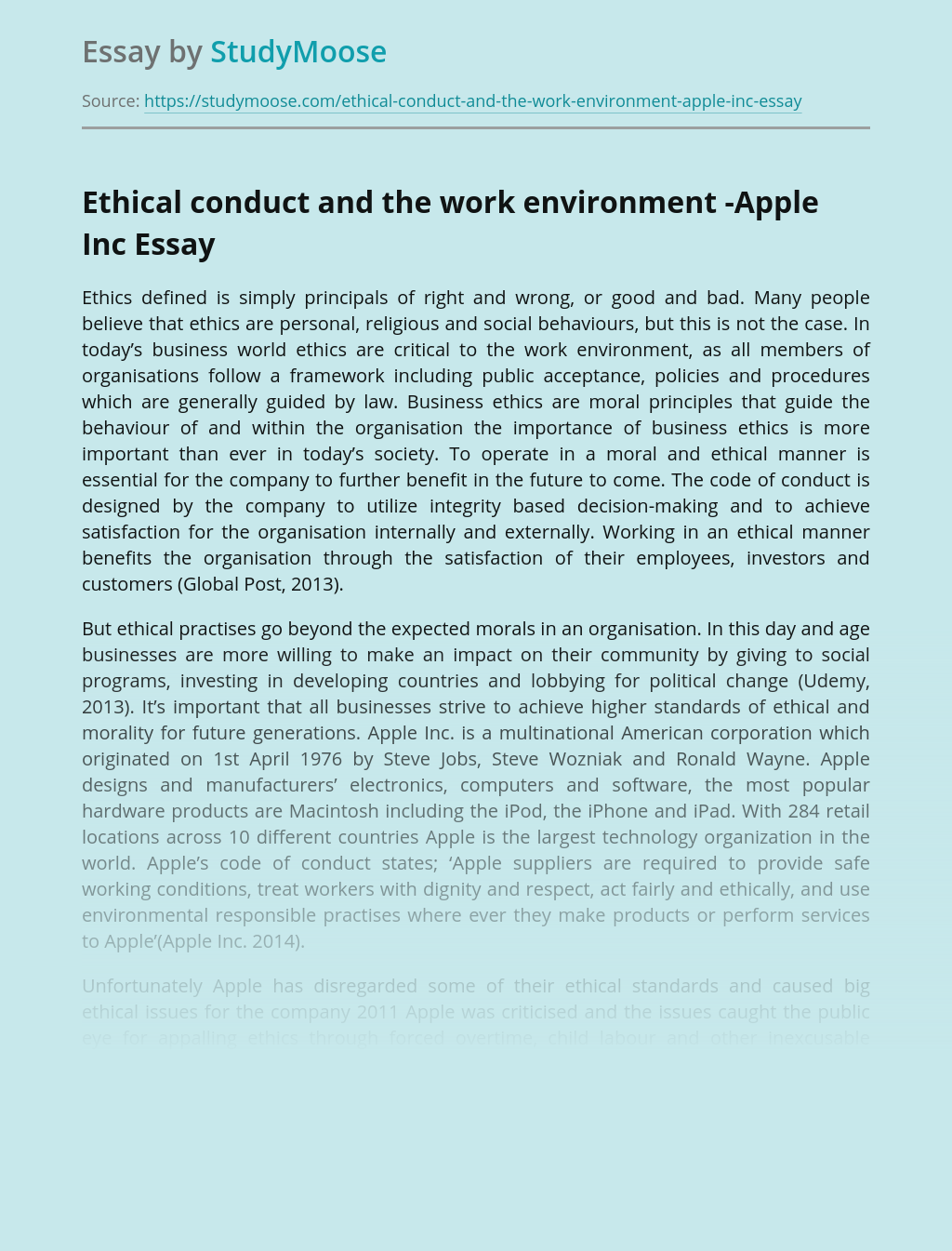 Ethical conduct and the work environment -Apple Inc