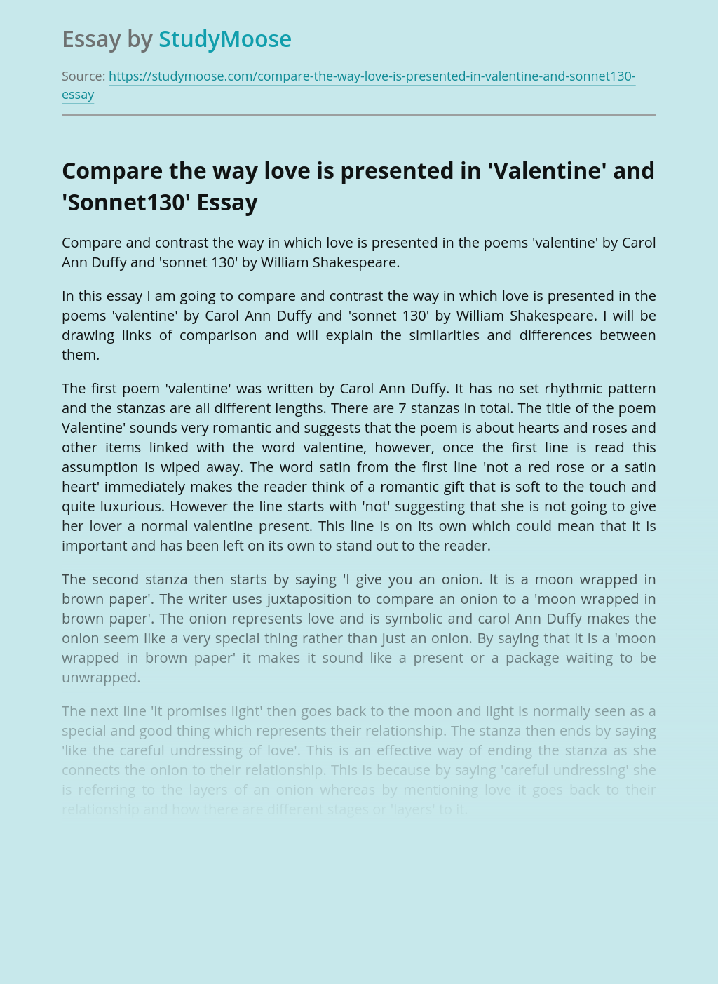 Comparison of Valentine and Sonnet 130 by William Shakespeare
