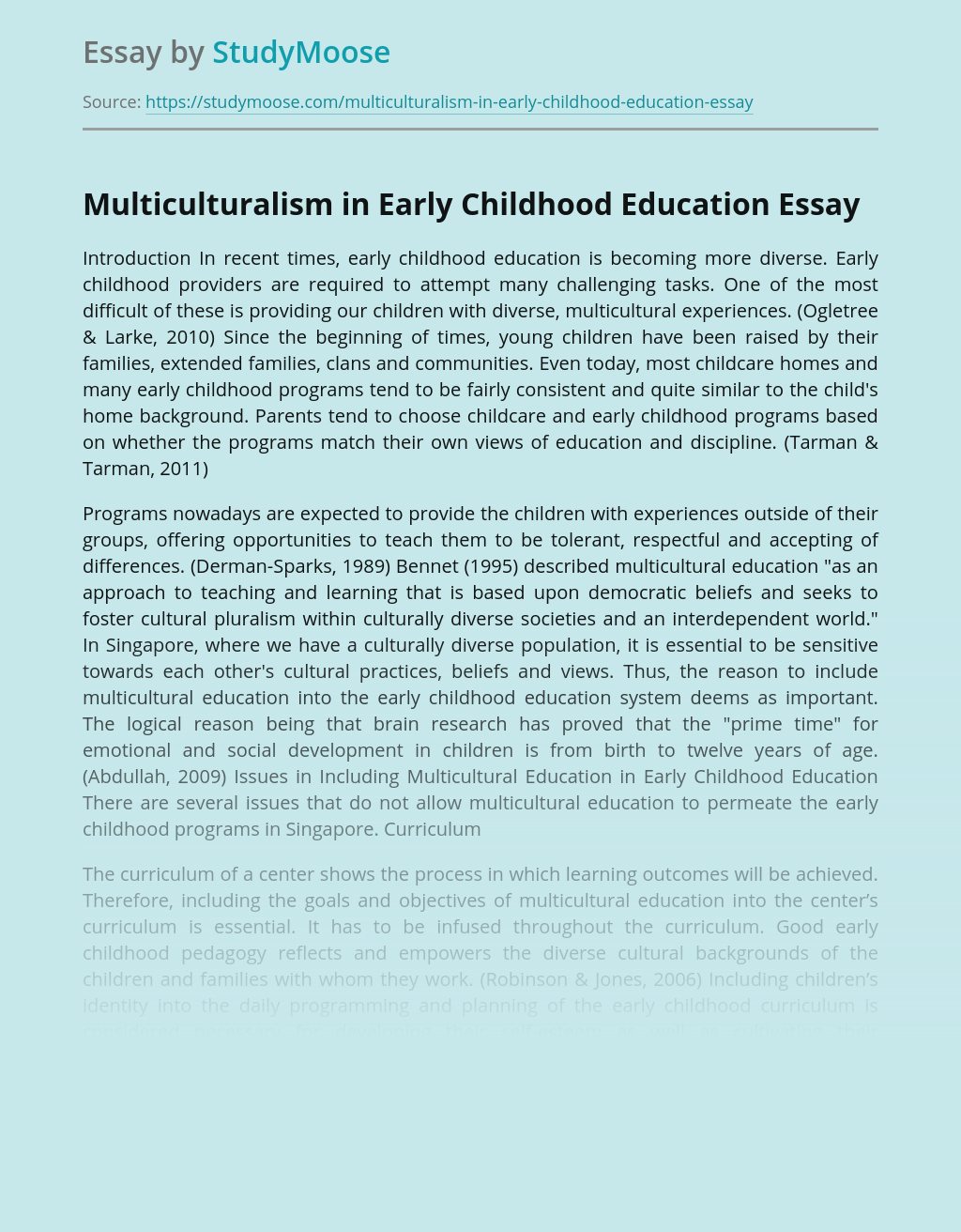 Multiculturalism in Early Childhood Education