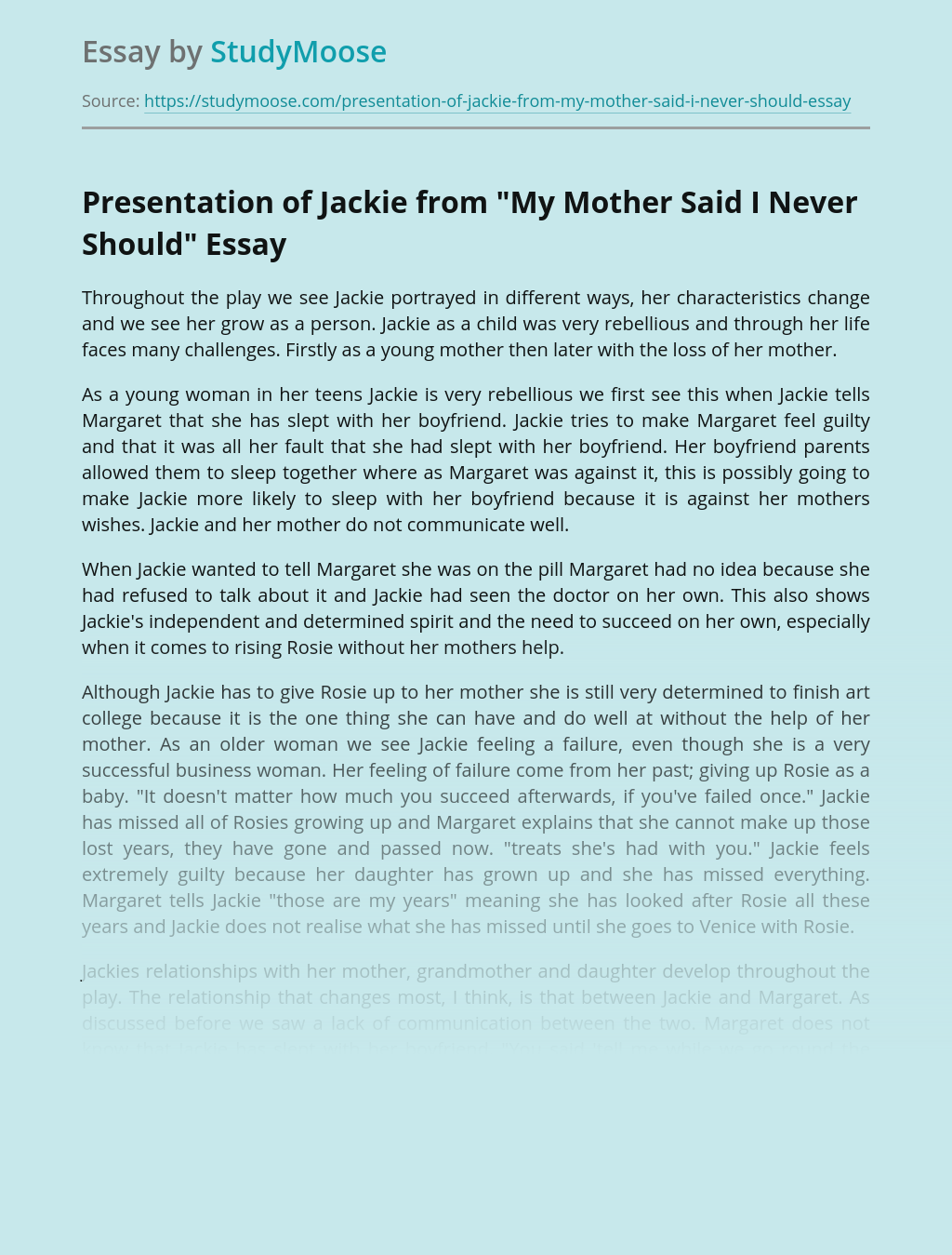 """Presentation of Jackie from """"My Mother Said I Never Should"""""""