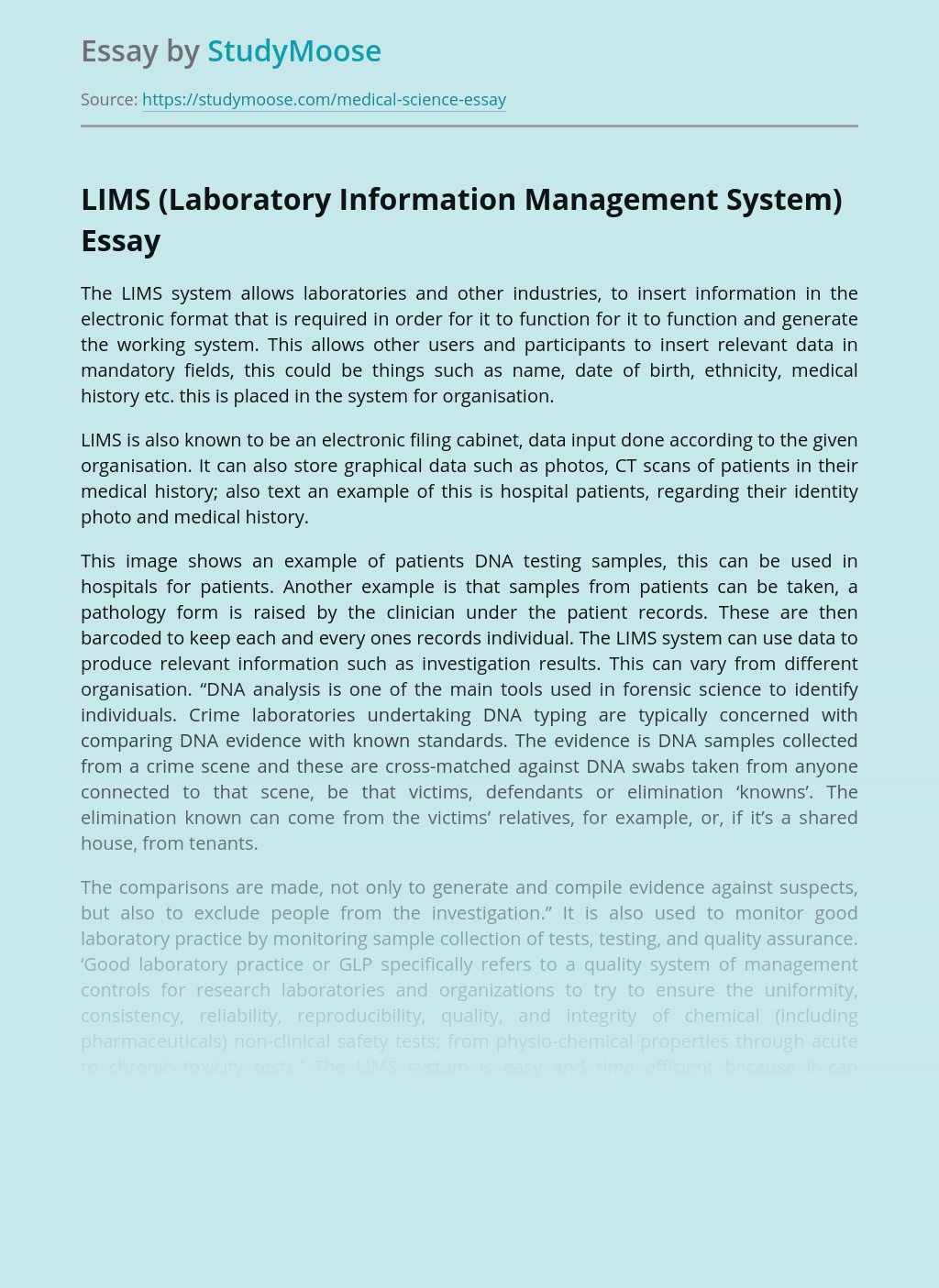 LIMS (Laboratory Information Management System)