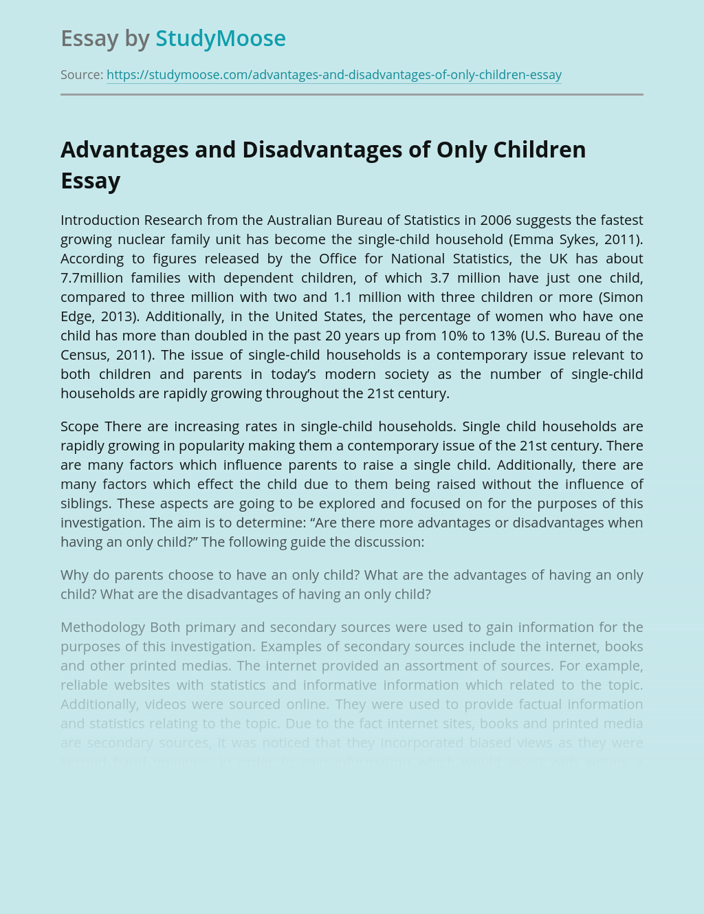 Advantages and Disadvantages of Only Children