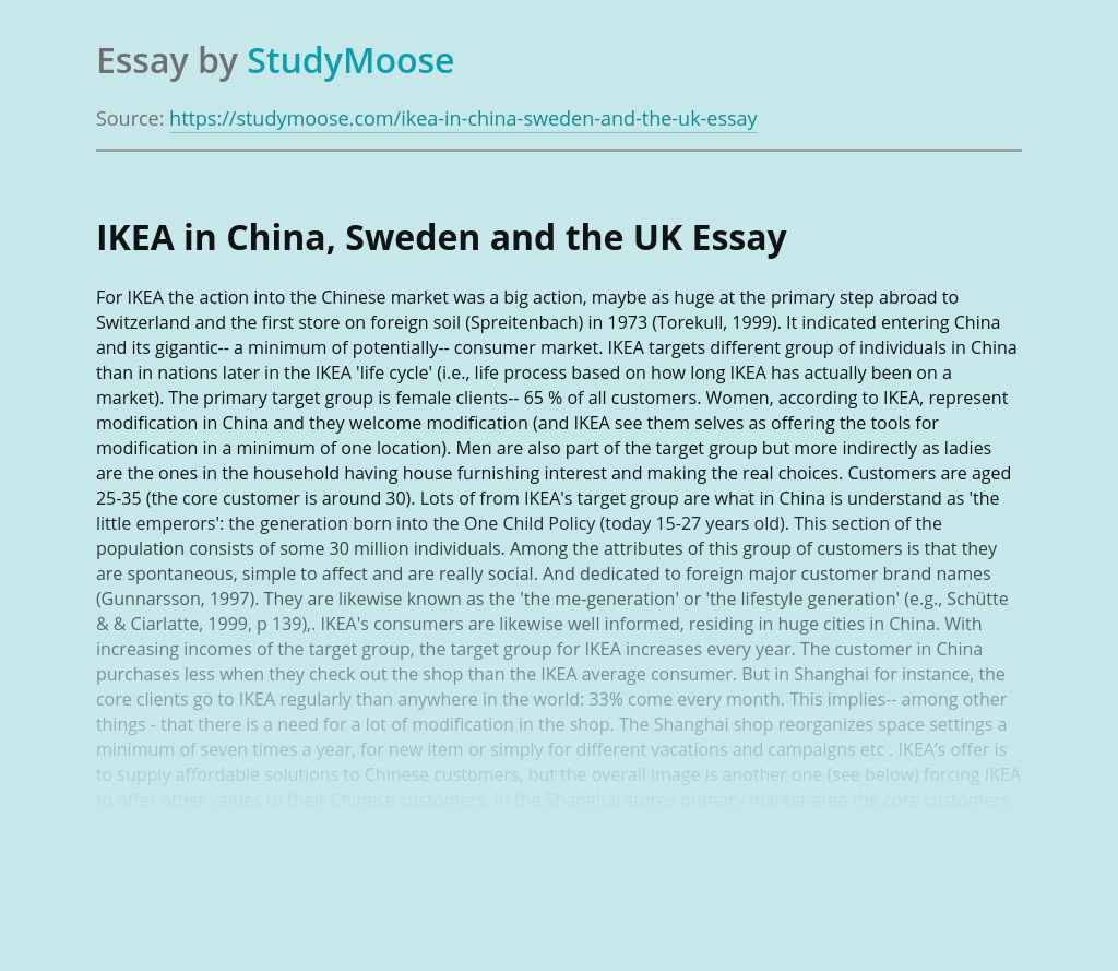 IKEA in China, Sweden and the UK