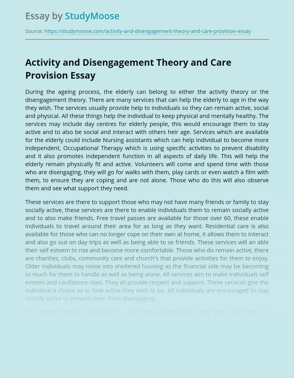 Activity and Disengagement Theory and Care Provision