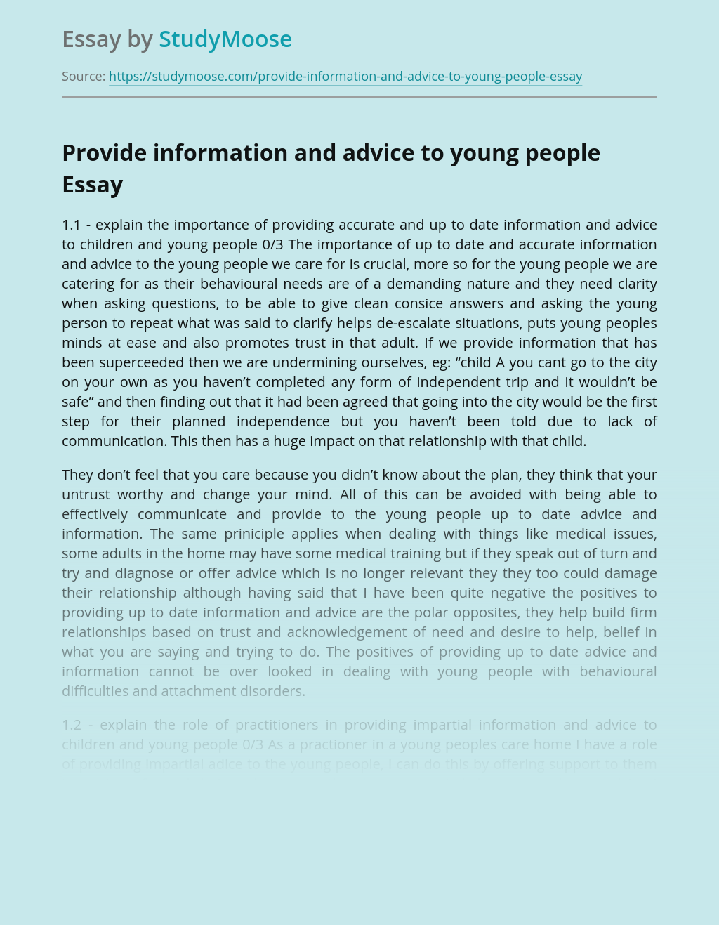 Provide information and advice to young people