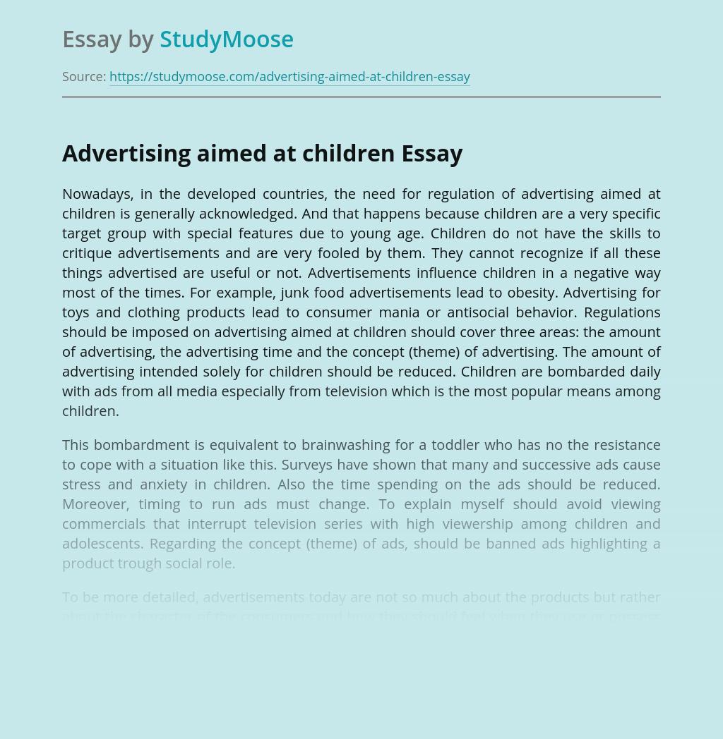 Advertising aimed at children