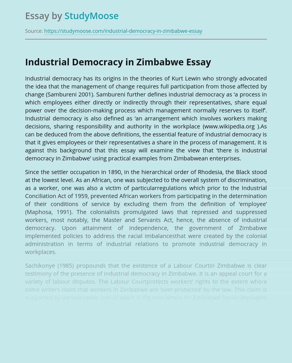 Industrial Democracy in Zimbabwe