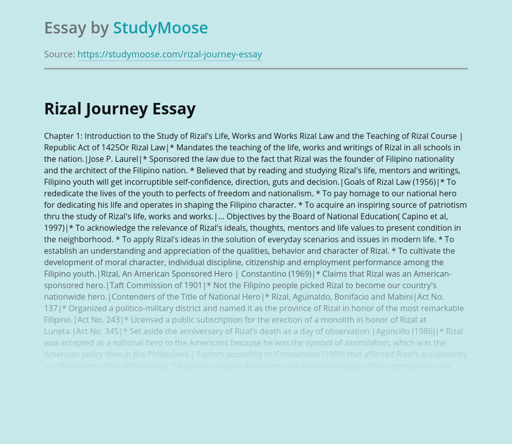 Rizal Journey