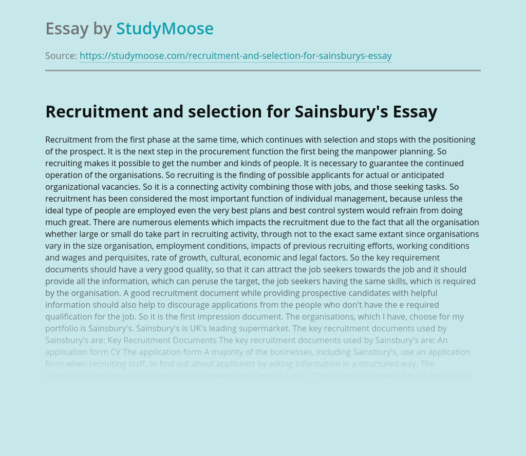 Recruitment and selection for Sainsbury's