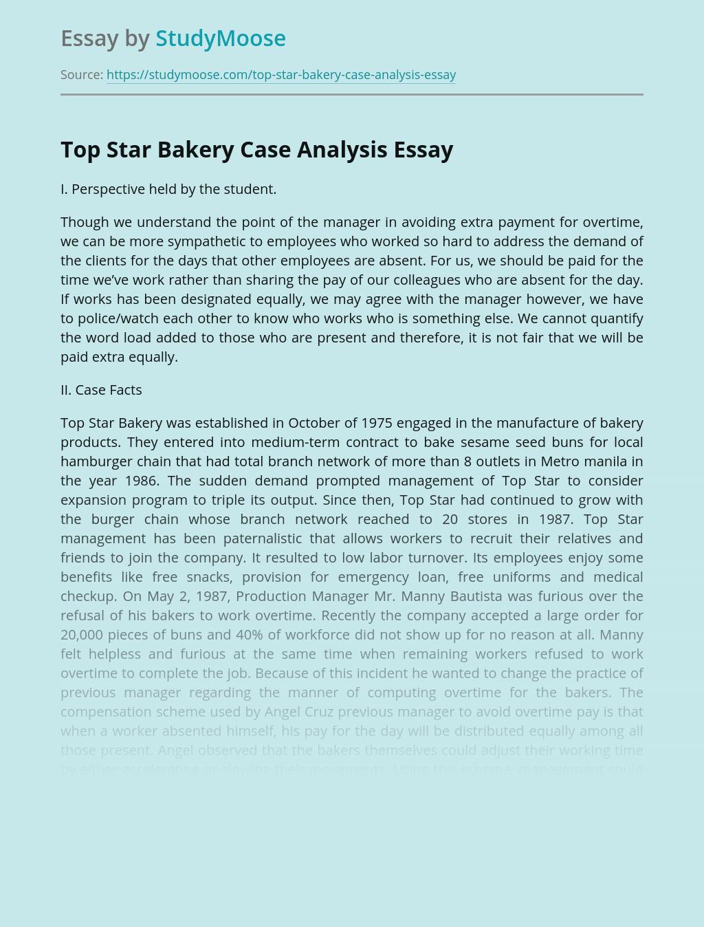 Top Star Bakery Case Analysis