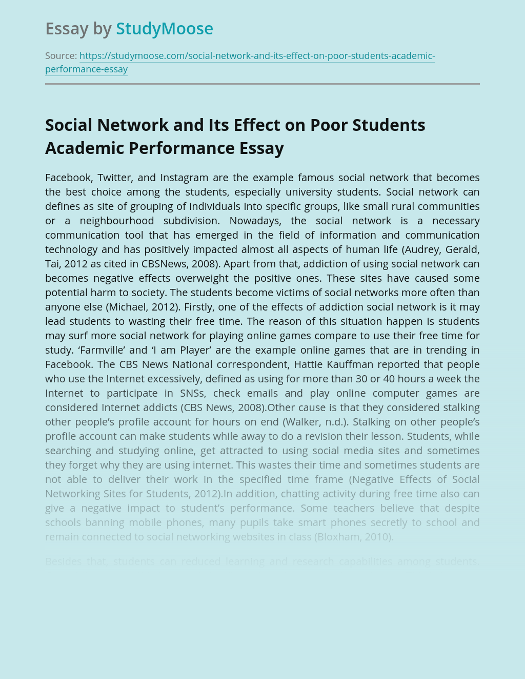 Social Network and Its Effect on Poor Students Academic Performance
