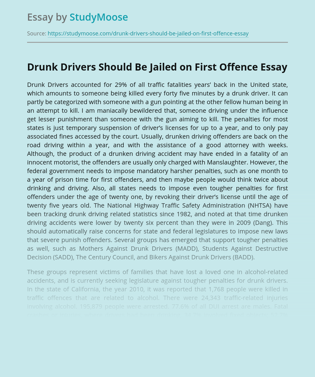 Drunk Drivers Should Be Jailed on First Offence