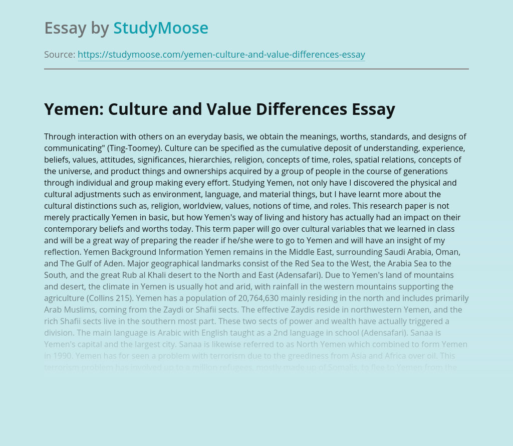 Yemen: Culture and Value Differences